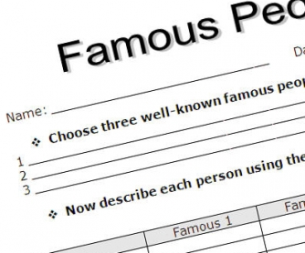 Describing Famous People Printable Worksheet