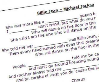 Billie Jean by Michael Jackson: Song Worksheet