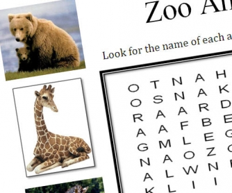 Zoo Animals Wordsearch Puzzle