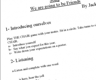 We are Going to be Friends by Jack Johnson: Song Worksheet