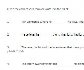 Verb Tense Review Worksheet