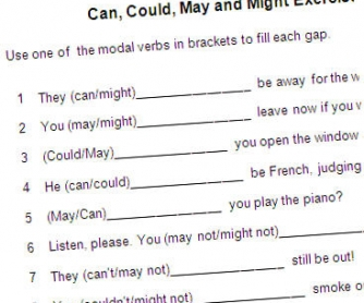Can, Could, May and Might Exercise Use one of the modal verbs in brackets to fill each gap.