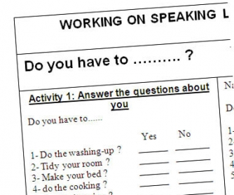 Working on Speaking Skills: Household Chores