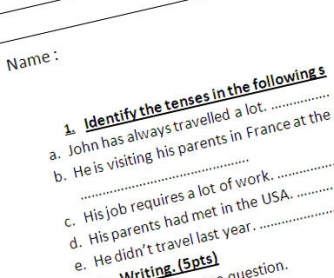 Test on Verb Tenses