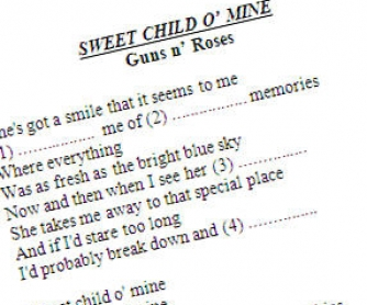 Sweet Child O'Mine by the Guns 'n Roses: Song Worksheet
