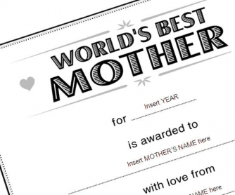 Best Mother: Certificate Template to Use on Mother's Day Lesson