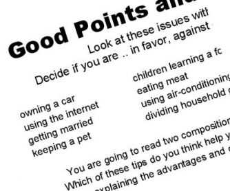 Good Points and Bad Points: Discussion Worksheet