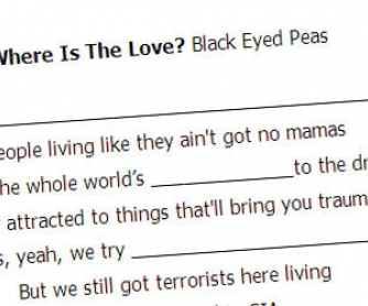 Song Worksheet: Black Eyed Peas, Where is the Love