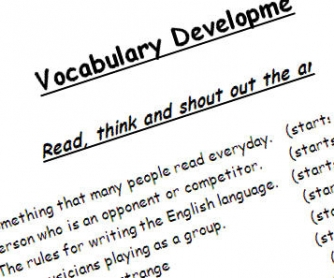 Vocabulary Developement Worksheet