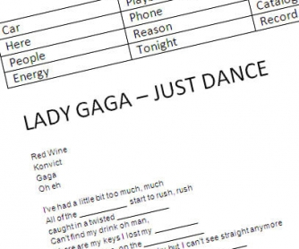 Song Worksheet: Lady Gaga - Just Dance