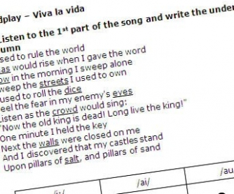 Coldplay - Viva La Vida Song Worksheet and Lyrics