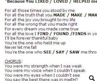 Song Worksheet: Because You Loved Me (WITH VIDEO)