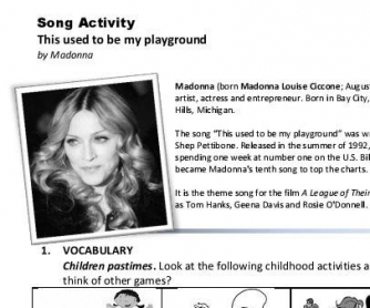 Song Worksheet: This Used to Be My Playground by Madonna (WITH VIDEO)