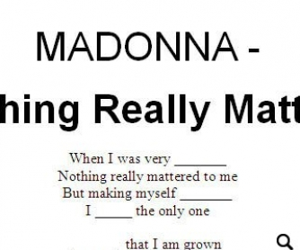 Song Worksheet: Nothing Really Matters by Madonna (WITH VIDEO)