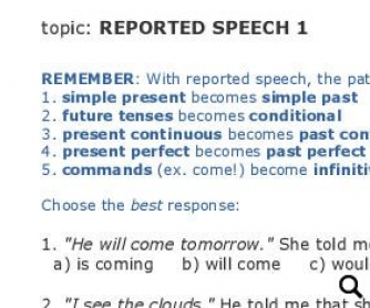 Reported speech: Rules and Test - part 1