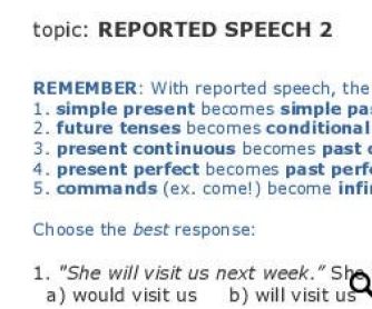 Reported speech: Rules and Test - part 2