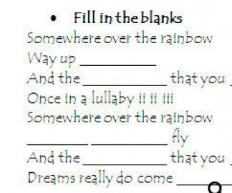 Song Worksheet: Somewhere Over the Rainbow (WITH VIDEO)