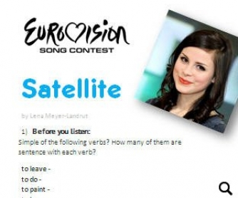 Eurovision 2010 Song Worksheet: Satellite by Lena Meyer-Landrut (WITH VIDEO)