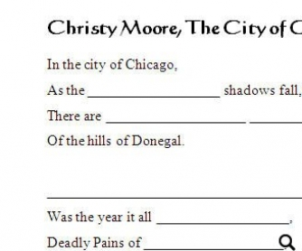 Song Workheet: Christy Moore, The City of Chicago (WITH VIDEO)