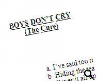 Song Worksheet: Boys Don't Cry by The Cure (WITH VIDEO)