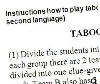 Jobs Taboo: Group Work Vocabulary Check
