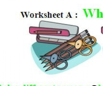 What's In Your Pencil Case? Worksheets A, B and C