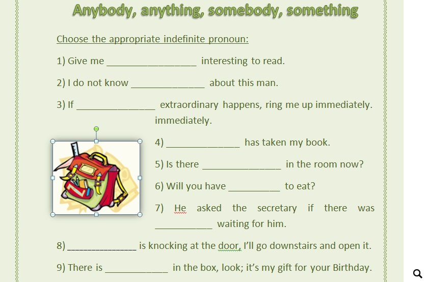 Anything Somebody Something – Indefinite Pronoun Worksheet