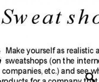 Sweatshop and Child Labor Role Play