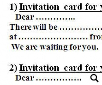 Card this flashcard contains sample invitation card which will help students write their own ones bellow four variants are given it can be used for 5th grade stopboris Image collections