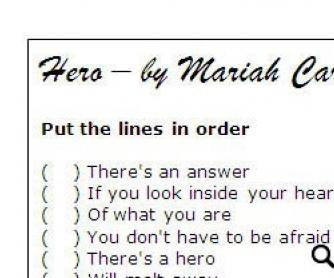 Song Worksheet: Hero by Mariah Carey (WITH VIDEO) - alternative version