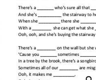 Song Worksheet: Stairway to Heaven