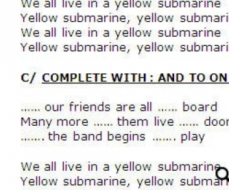 Song Worksheet: Yellow Submarine by The Beatles (WITH VIDEO) alternative