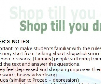 Shopaholism - Shop Till You Drop Upper-Intermediate and FCE Worksheet
