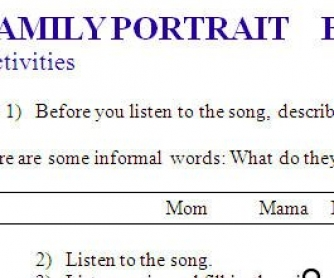 Song Worksheet: Family Portrait by Pink