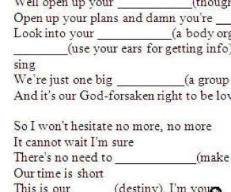 Song Worksheet: I'm Yours by Jason Mraz (WITH VIDEO) - alternative