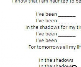 Present Perfect Continuous Song Worksheet: In The Shadows by Rasmus (WITH VIDEO)