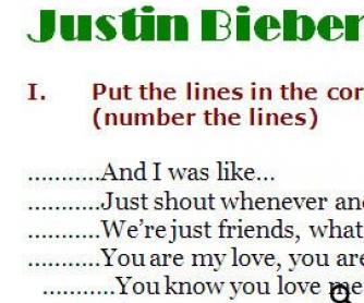 Song Worksheet: One Time by Justin Bieber (WITH VIDEO)