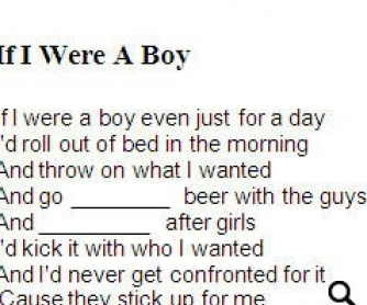 Song Worksheet: If I Were a Boy... by Beyonce (WITH VIDEO)