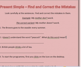 Present Simple Worksheet: Find and Correct the Mistakes