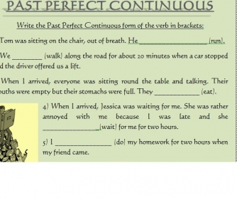 past perfect simple and past perfect continuous exercises pdf