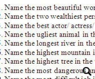 Superlatives Quiz Questions