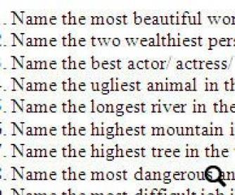 Superlatives Quiz Questions