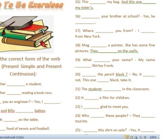 Verb To Be Exercises