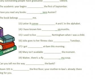 Prepositions Activity
