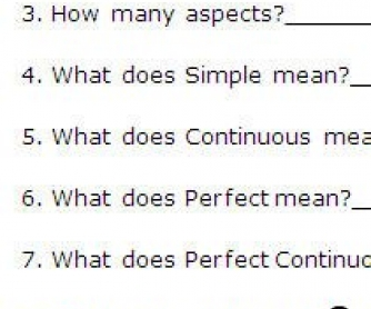 All Tenses: Concept Questions