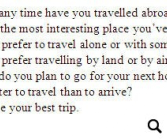 Travel Questions: Pairwork Activity