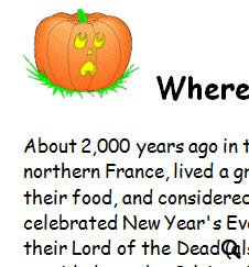 origin of halloween worksheet - Where Halloween Originated From