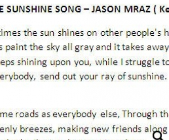 Song Worksheet: The Sunshine Song by Jason Mraz (WITH VIDEO)