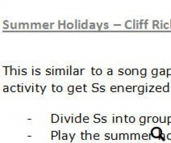 Song Worksheet: Summer Holidays by Cliff Richard (WITH VIDEO)