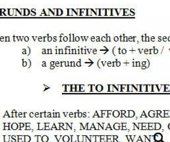 Gerunds and Infinitives Worksheet